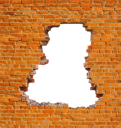 Photo for Broken hole in an old brick wall - Royalty Free Image