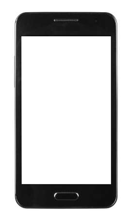 Photo pour black smart phone with white screen isolated white background - image libre de droit