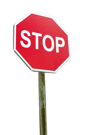 Photo pour Stop sign on white background - image libre de droit