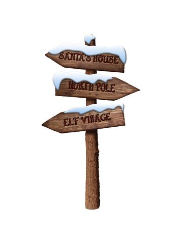 Photo pour Arrow Sign Showing the Way to Santa's House and North Pole Isolated On White Background - image libre de droit