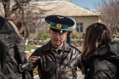 BELBEK, UKRAINE - March 21, 2014 Yuliy Valeryevich Mamchur, Commander of Belbek military base A4515