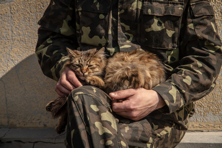 BELBEK, UKRAINE - March 21, 2014 Soldier patting a cat on the last day of the Ukrainian military base A4515