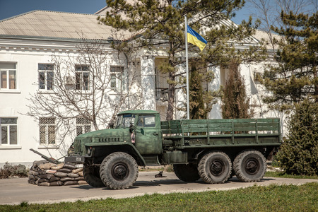BELBEK, UKRAINE - March 21, 2014 Last day of the Ukrainian military base A4515 before being overtaken by Russian occupants