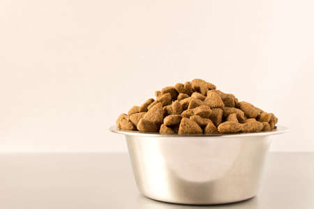 Photo pour Bowl with dog food on a light background . Close up - image libre de droit