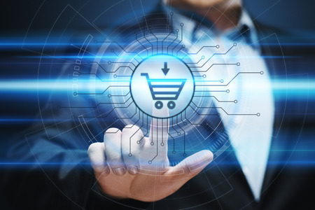Photo pour e-commerce add to cart online shopping business technology internet concept. - image libre de droit