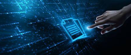Foto de Document Management Data System Business Technology Concept - Imagen libre de derechos