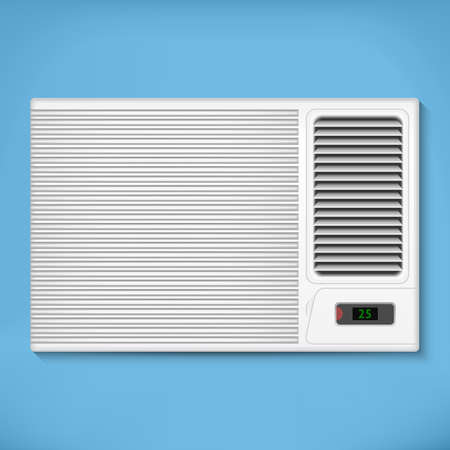 Air conditioner in a blue wall