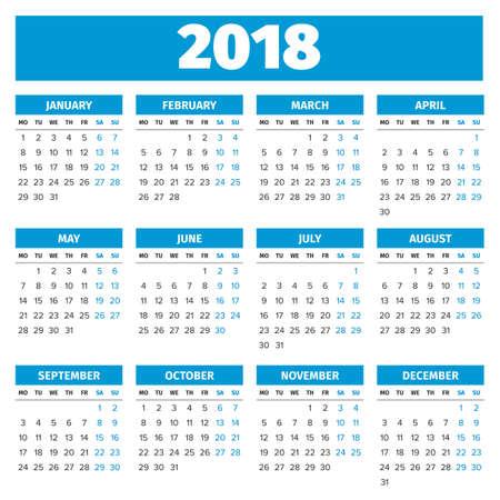 Simple 2018 year calendar, week starts on Monday