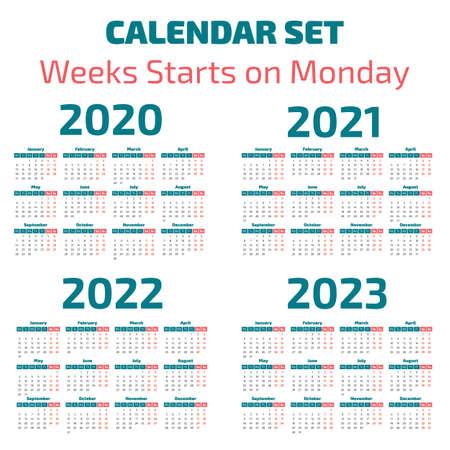 Illustration pour Simple 2020-2023 years calendar, week starts on Monday - image libre de droit