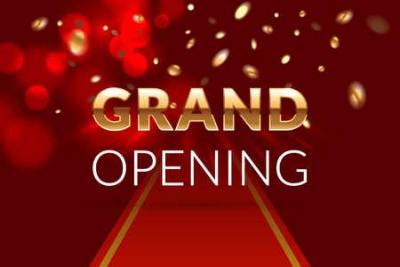 Grand opening invitation concept  Luxury design  Gold