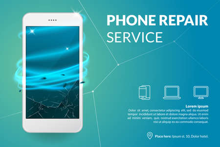 Illustration pour Phone repair service banner template. Smartphone with broken screen on blue background. Repairing electronics. Advertising concept. Vector eps 10. - image libre de droit