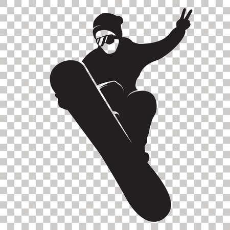 Ilustración de Snowboarder Silhouette isolated on transparent background. Stylized Snowboarder black logo. Rider with snowboard. Winter sport icon. Vector illustration. - Imagen libre de derechos
