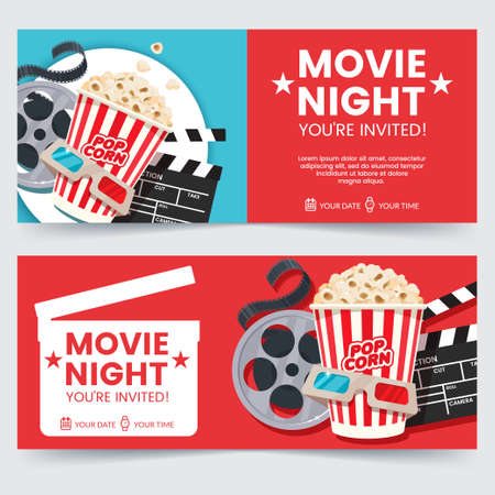 Illustration for Cinema tickets design concept. Movie Night invitation. Cinema poster template. Composition with popcorn, clapperboard, 3d glasses and filmstrip. Banner design for movie theater. - Royalty Free Image