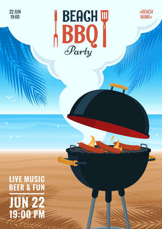 Illustration for Beach barbecue party invitation. Summer BBQ party flyer. Grill illustration on the background of the beach. Design for flyer, menu, poster, announcement. - Royalty Free Image