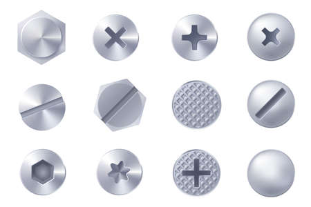 Illustration pour Set of metal screw heads isolated on white background. Collection of different heads of bolts, screws, nails, rivets. View from above. Decorative elements for your design. Vector - image libre de droit