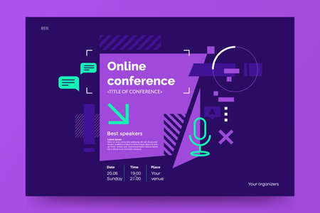 Illustration pour Invitation banner to the online conference. Business webinar invitation design. Announcement poster concept in flat style. Modern technology background with place for text. Vector eps 10. - image libre de droit