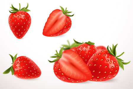 Illustration pour Realistic strawberry in 3d style. Fresh ripe strawberry isolated on white background. Sweet berry. Applicable for fruit juice advertising. Vector illustration. - image libre de droit