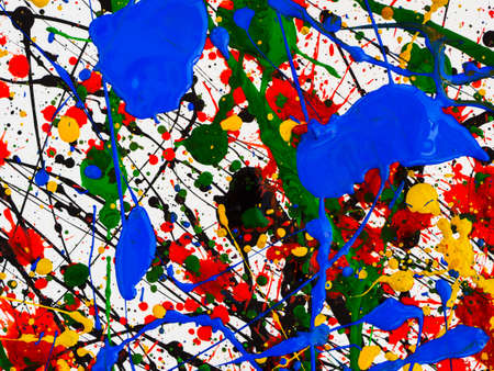 Photo for an abstraction with splashes of black and red and green and yellow and blue paint on a white background - Royalty Free Image