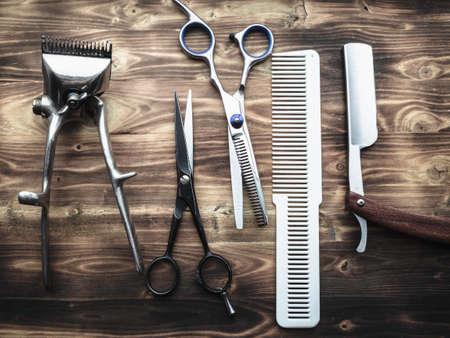 Photo for Barber Tools On Wooden Background. - Royalty Free Image