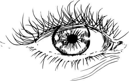 Illustration pour Painting with eye in the style of hatching. An idea for a tattoo. - image libre de droit