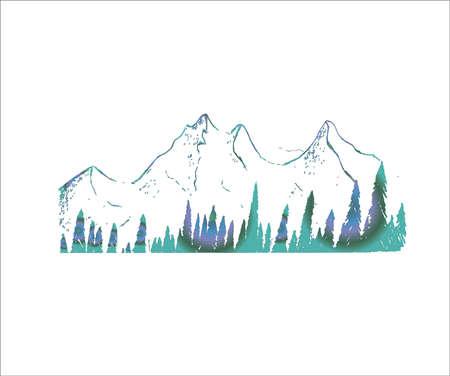 Illustration pour Neon illustration of mountains and trees. Tattoo idea. - image libre de droit