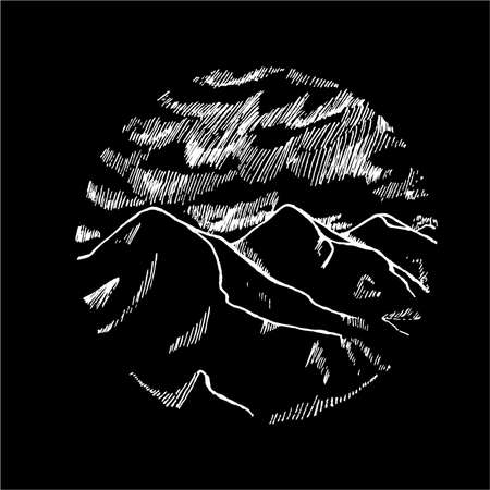 Illustration pour Black and white picture of mountains is in a circle. Beautiful clouds and mountains. - image libre de droit