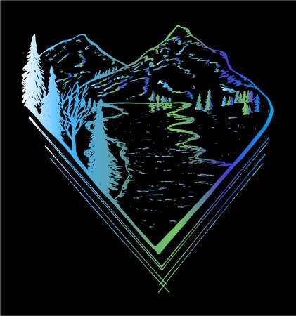 Illustration pour Neon picture of mountain landscape, trees, river going away to distance. - image libre de droit