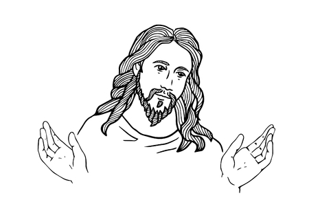 Illustration for graphical face of Jesus .Face of Jesus. open hands - Royalty Free Image