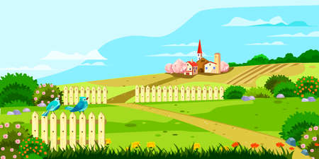 Illustration pour Horizontal rural landscape with hills, fences, footpath, birds, flowers, houses and blooming bushes. Spring garden with lawns in cartoon style. Village background for banners, posters, advertisements. - image libre de droit