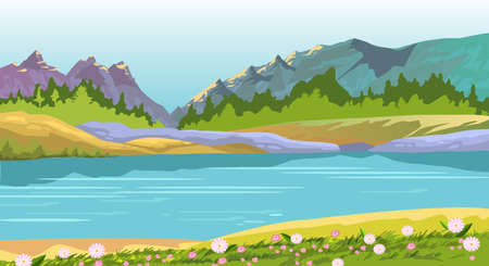 Illustration for Vector horizontal landscape with hills, lake, flowers and forest. Background with spring mountains, river and blue sky in flat style. Stock illustration for banners, travel posters, backgrounds, prints. - Royalty Free Image