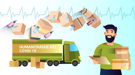 Illustration pour Horizontal banner Humanitarian Aid with green truck, boxes, cardiogram, medicine. Young bearded man with chart and packages in flat style. Product and medical help during COVID-19 pandemiс.   - image libre de droit