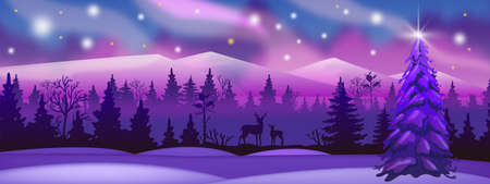 Illustration pour Winter landscape with pink and violet forest, deer silhouette, night sky. Alaska northern vector background with night, snow, mountains, aurora borealis, lights. Christmas, New Year winter landscape - image libre de droit