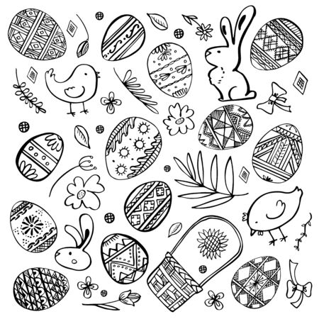 Illustration for Easter sketch set. Painted eggs, rabbits, chickens, plants and basket. Hand drawn outline ink vector illustration black on white background - Royalty Free Image