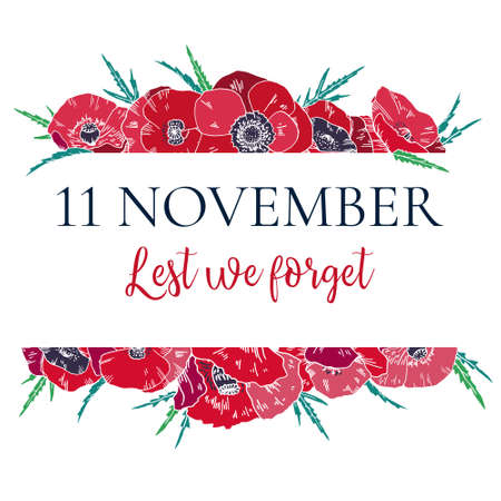 Illustration pour 11 November design template with red poppies. Border frame with title. Hand drawn vector sketch illustration - image libre de droit