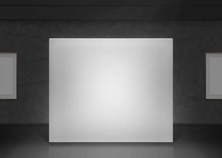 Photo for Modern gallery wall mockup in darkness. Dark museum hall with blank pictures on wall. - Royalty Free Image