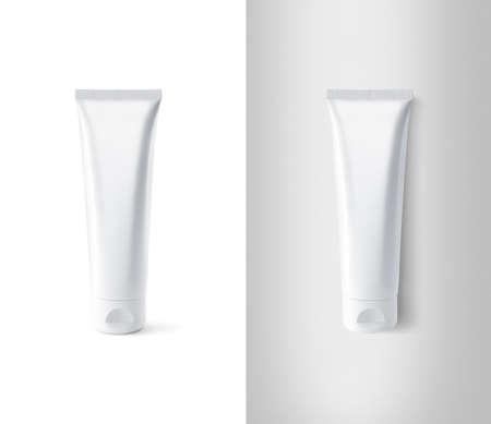 Blank white tube design mockup set, isolated, clipping path.