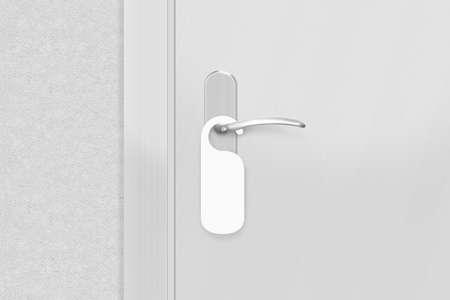 Photo pour Door knob with blank doorhanger mock up. Empty white flyer mockup hang on door handle. Leaflet design on entrance doorknob. Dont disturb sign. Do not disturb signal. - image libre de droit
