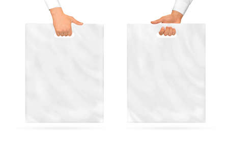 Photo for Blank plastic bag mock up holding in hand. - Royalty Free Image
