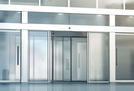 Photo pour Blank sliding glass doors entrance mockup, 3d rendering. Commercial automatic slide entry mock up. Office building exterior template. Closed transparent business centre facade, front view. - image libre de droit