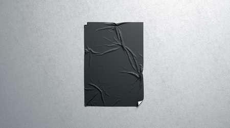 Foto de Blank black wheatpaste adhesive poster mockup on textured wall, 3d rendering. Empty glue urban sheet mock up. Wall mounted canvas for cinema affiche. Grunge placard for branding. - Imagen libre de derechos