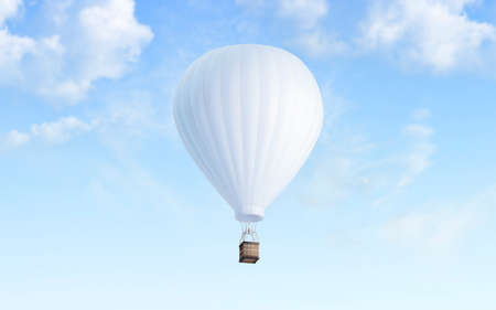 Photo pour Blank white balloon with hot air mockup on sky background, 3d rendering. Empty airship fly in heaven mock up. Clear blimp with basket and gasbag for expedition template. - image libre de droit