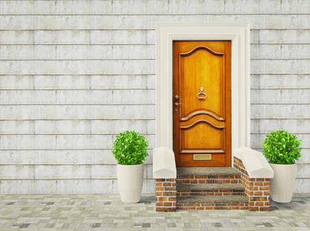 Foto de vintage door and two plants near wall. - Imagen libre de derechos