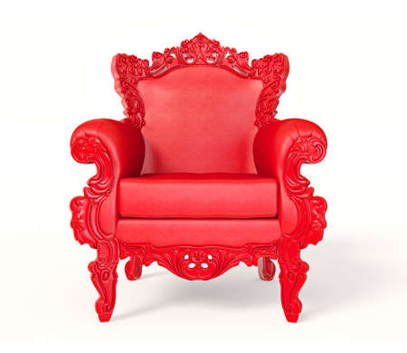 Conceptual  red armchair isolated on a white background.