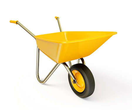 Photo pour yellow wheelbarrow  isolated on a white background - image libre de droit