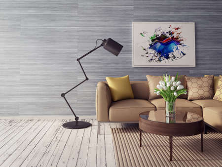 Photo for 3d render. modern interior room with a beautyful furniture. - Royalty Free Image