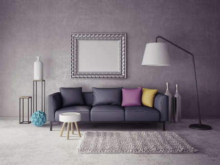Photo pour 3d render.  modern interior room with a beautiful furniture - image libre de droit
