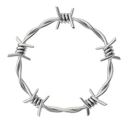 Photo pour circle  barbed wire isolated on a white. 3d illustration - image libre de droit