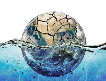 Dried up planet immersed in the waters of world ocean Elements of this image furnished by NASA