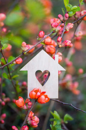 Photo pour Closeup wooden house with hole in form of heart surrounded by pink flowering branches of spring trees. Spring vibrant composition with copy space. Concept of sweet home. - image libre de droit