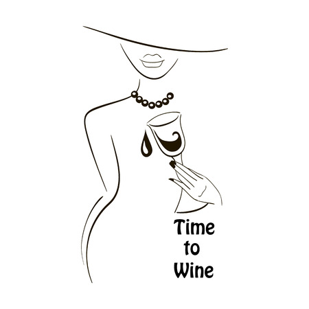 Illustration pour Vector black outlined lady silhouette with graphic glass of wine on white background with a place for your text. Element for your design logo, poster , menu, etc. Wine and grape festival concept. - image libre de droit